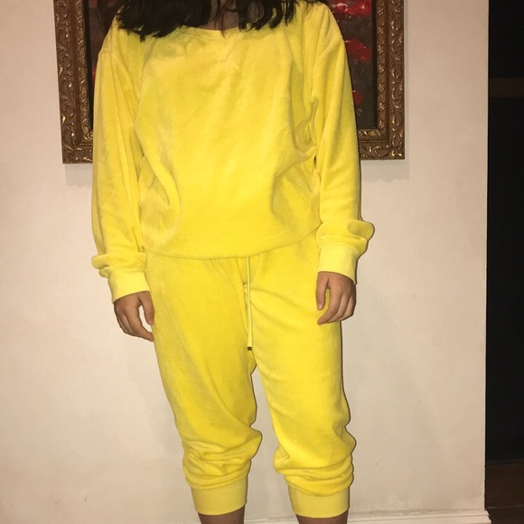Juicy Couture Other Yellow Velour Sweat Suit Poshmark